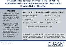 Pragmatic Randomized, Controlled Trial of Patient Navigators and Enhanced Personal Health Records in CKD