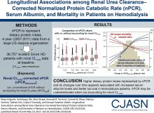 Longitudinal Associations among Renal Urea Clearance–Corrected Normalized Protein Catabolic Rate, Serum Albumin, and Mortality in Patients on Hemodialysis
