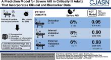 A Prediction Model for Severe AKI in Critically Ill Adults That Incorporates Clinical and Biomarker Data